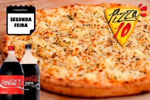 PIZZA GRANDE DE FRANGO COM REQUEIJÃO + COCA-COLA 2 LITROS, DE R$ 54,00 POR R$ 48,00